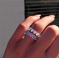 Vecalon Güzel Promise yüzük 925 Ayar gümüş Nişan Yüzüğü Oval kesim Elmas kadınlar için Düğün band yüzükler Takı