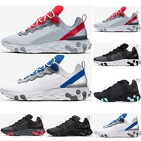 2019 Designer react element 55 running shoes para hombre mujer Jade Solar Red triple negro blanco Royal Red zapatillas deportivas tamaño 36-45