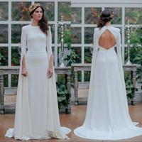 Vestido de novia delgado blanco Falda larga 2020 Primavera Nueva Cena sin respaldo Cola Cola Batas Vestidos Vestidos Verano