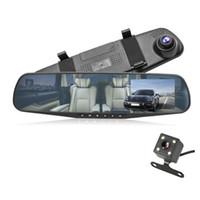 Gratuit enregistreur DVR voiture transport 2Ch miroir DASHCAM auto registrator 4,3 pouces FHD 1080P avant 170 ° arrière 120 ° grand angle de vue G-capteur