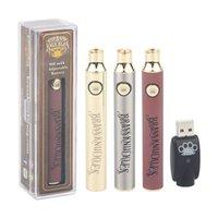 5Pcs Brass Knuckles Charger Kit 510 Thread Vape Pen Battery 650 900 mAh Gold Wooden Preheat Voltage Adjustable Thick Oil Cartridge Batteries