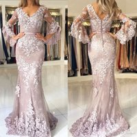 2018 Modest Dusty Pink Prom Dresses Long Poet Sleeves Lace A...