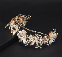 Fleur vintage de mariée Couronne Tiara Bandeau Cristal Strass Perles Hairband Coiffe Accessoires cheveux Bijoux Diadème Ornement