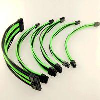 18AWG Kit di prolunghe di base ATX 24Pin / EPS 4 + 4Pin / PCI-E 8Pin / PCI-E 6Pin Cavo di prolunga a treccia in nylon 30CM Cavo di alimentazione nero-verde per PC
