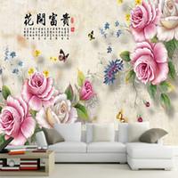 tela de seda preciosa 3d gran mural pintado flores de peonía Views Pared carácter chino que cubre para el sofá de televisión pasillo fondo decorativo