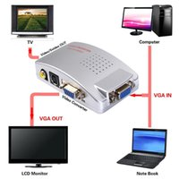 100 satz Laptop-PC VGA zu Video TV AV RCA-Signaladapter-Konverter-Video-Switch-Box unterstützt das NTSC PAL-System