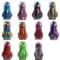 Coprire i capelli lucidi serici Durag Copricapo fasce Nuovo colorato Sparkly Durags Turbante Bandane Accessori Uomo Saluto Caps Rags Hat