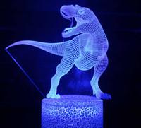 Dinosaurio Jurásico Mundo Triceratops 3D LED Luz Luz de escritorio Lámpara de sueño Creative Kids Toy Dormitorio Decoración para el hogar Regalo de Navidad