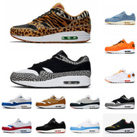 2019 Nike Air Max 1 x Atmos Marque Chaussures Atmos 1s Chaussures De Course Elephant Atmos x Air 1s Pack Animal 3.0 Sports Designer Sneakers Taille 36-45 Livraison Gratuite