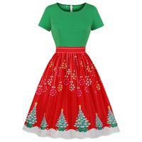 Dorywczo Suknie Moda Kolor Blok Czerwony I Zielony Kobiety Boże Narodzenie Dress Round Neck Krótkie Rękawy Drzewo Retro Party Vestidos