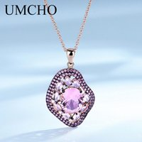 UMCHO Created Morganite Pendants Necklace 925 Sterling Silve...