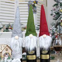 3 Stiller Noel Faceless Doll Şarap Şişesi Vaka Nordic Kara Tanrı Noel Baba Şampanya Şarap Şişesi Kapağı Yılbaşı Dekorasyon XD22800
