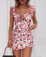 2020 Summer Floral Print Tied Detail Ruffles Mini Dress Women Sleeveless Casual Vacation Beach Short Dresses