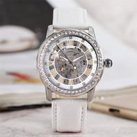 7b5eb71517d Luxo Elegante Cristais Automático Mecânico das Mulheres Relógio de Pulso  Vestido Branco Esqueleto de Couro Genuíno
