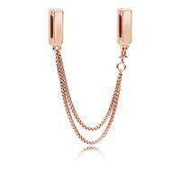 Authentique 925 Argent Perles Pandora Shine Reflexion chaîne flottante sécurité chaîne Clips Charm Bracelet Fits Pandora JewelryRose européenne
