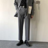 Ternos masculinos Blazers 2021 Soltos Calças de estilo ocidental Calças de lazer Calças retas Fit Calças Casuais Design Formal Business Design Série de Algodão S-3XL