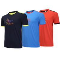 ملابس رياضية جديدة لتنس الطاولة ، قميص تنس للرجال ، طوق دائري ، أكمام قصيرة ، تجفيف سريع وتنفس.