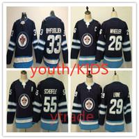 청소년 위니펙 제트 26 블레이크 휠러 저지 키즈 55 Mark Scheifele 33 Dustin Byfuglien 29 Patrik Laine Boys Winnipeg Jets Jersey