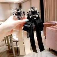 Weinlese-Bogen-Knoten-Mädchen Pins Mode Spitze Hochzeit Broschen für die Braut Designer LuxuxRhinestone Perle Pins