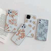 Glitter Gold Leaf Transparent Case For iPhone 11 Pro X XS Ma...
