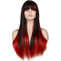 Longa peruca cosplay de cosplay Mulheres Festa Festa Preto Vermelho Ombre 68 Perucas de Cabelo Sintético Resistente ao Cmeat