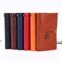 Estudantes Do Vintage Notebook Cor Sólida PU Capa De Couro Jornal Diário Diário Livros Retro Bloco de Notas Notas de Notas Papelaria Gift VT0928