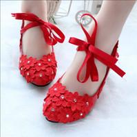 Kırmızı renk dantel çiçekler kadınlar için ayakkabı pompaları HEEL 3 CM bayanlar kızlar parti yemeği kırmızı proms elbise ayakkab ...