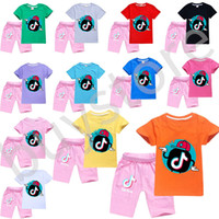 Fashion Tik Tok 2 pcs Tshirt Shorts Cotton Comfortable Breathable Short Sleep Children Clothing Children's Shorts tiktok t-shirt