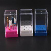 Duidelijke 7 holes Nail Boor Bak Case Slijpkop Display Stand Storage Houder Snelle verzending F2503