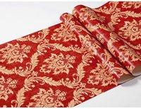 الأحمر مركب فاخر الكلاسيكية 3D دمشقي للجدران لغرف النوم غرفة المعيشة ديكور المنزل ماء الفينيل PVC ورق الحائط لفة