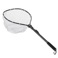 LEO Aluminium Alloy Foldable  Fishing Brail Soft Rubber Landing Net Eva Handle  Fishing Nets Rubber Mesh Aluminum Alloy
