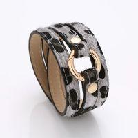 Ювелирные изделия Горячие моды ПУ Кожаный браслет Многослойные обернутый Leopard конский PU браслет S814