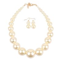 2018 Fashion Heavy Pearl Jewelry Necklace and Earring Set Black Red White Gold Color Pearl Jewellery 100g set