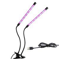 LED 식물 성장 빛 전체 스펙트럼 공장 램프 9W 18W 27W 클립 듀얼 세 헤드 온실 성장 꽃 디 밍이 가능한 LED 수족관 조명