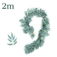 2M القش الاصطناعي الصفصاف فاين غارلاند الحرير الخضار الخضراء أوراق ديكور المنزل