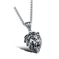 Moda Hip Hop Jewelry Crown Lion Head Colgante Iced Out Clear Rhinestones Curb Cuban Chain Collar de acero inoxidable