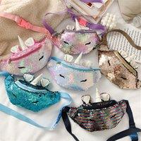 Crianças Unicorn Bloco de Fanny desenhos animados lantejoulas cinto sacos de moda Meninas Crossbody Messager Bolsa Paillette bolsa de viagem Praia de ombro Sacos do presente