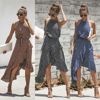 Verano nuevas mujeres de la manera del vestido de lunares con cordones irregular vestido más el tamaño S-3XL