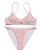 2019 Donne Bikini Nuova Vestita da nuoto Spalato con nastro triangolo Pure Sexy Bikini, costumi da bagno per nuoto economici Swimwear flessibile Elegante