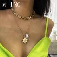 MLING Vintage liga de ouro Multi-camada Pingente Geometric Colar Moda irregular pérola Círculo de Mulheres
