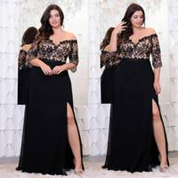 Schwarze Spitze Plus Größe Mutter der Brautkleider mit halben Ärmeln von der Schulter Split Side Abendkleider A-Line Chiffon Abendkleid