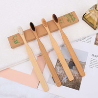 Eco-Friendly Oral Care Natural Square Handle Toothbrush Soft Bristles Wood Bamboo Green Toothbrush For Hotel Travel MADE IN CHINA FREE SHIP