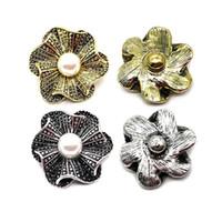 All'ingrosso w253 Fiore 3D 18mm 25mm 30mm Bottone a pressione in metallo per il braccialetto Collana gioielli intercambiabili Accessorie per le donne