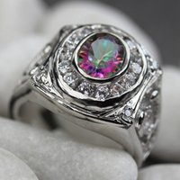 SHUNXUNZE Rob mad Wedding rings for men and women's clothing supplies Rainbow Cubic Zirconia supplies Rhodium Plated R778 size 6 7 8 9
