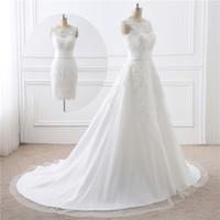 Colher Branco Marfim Vestido de casamento com destacável Cauda A Linha corpete de casamento vestido vestido de apliques de noiva vestido de casamento para a mãe da noiva