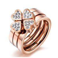 Crystal Anillo Rings Heart Shaped Set Three In One Ring Rose...