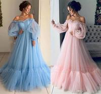 새로운 빛 스카이 블루 핑크 이브닝 드레스와 시인 긴 소매 우아한 어깨 홀리 프릴 긴 정장 이브닝 드레스 댄스 파티 드레스