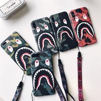 Para iPhone del modelo X caja del teléfono de la manera de camuflaje Boca del tiburón dura mate Gabinetes para el iPhone 6 7 8 6s Plus cubierta Coque