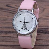 Montres de cadran rétro Femmes Hommes Simple Tour Eiffel Tour Design Bande en cuir Analog Quartz Montre-bracelet pour cadeau