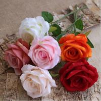 1つの単一の茎のバラの花人工的なベルベットのバラ30cmの長い9色diyの結婚式のブライダルブーケの花アレンジ付アクセサリーxd22542